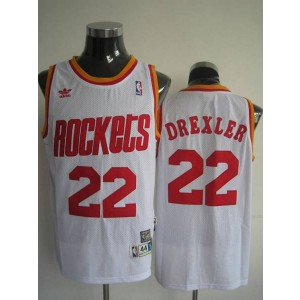 NBA Rockets 22 Clyde Drexler White Throwback Men Jersey