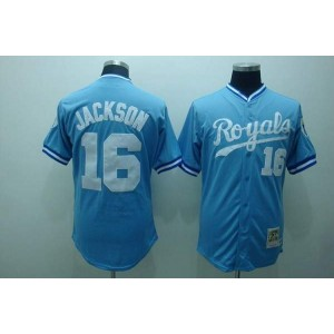 MLB Royals 16 Bo Jackson Light Blue Thrwoback Mitchell and Ness Men Jersey