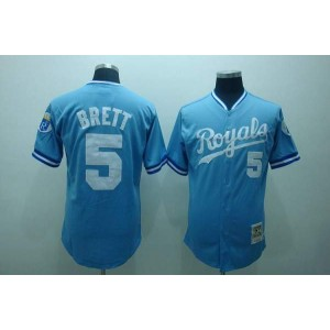 MLB Royals 5 George Brett Light Blue Thrwoback Mitchell and Ness Men Jersey