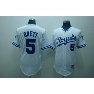 MLB Royals 5 George Brett White Thrwoback Mitchell and Ness Men Jersey