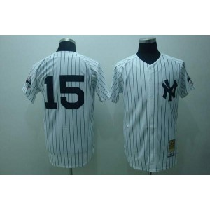 MLB Yankees 15 Thurman Munson White Mitchell and Ness Throwback Men Jersey