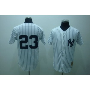 MLB Yankees 23 Don Mattingly White Mitchell and Ness Throwback Men Jersey
