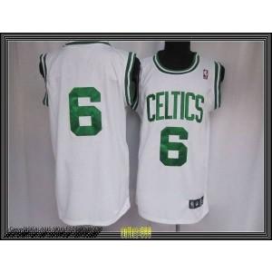 NBA Celtics 6 Bill Russell White Throwback Men Jersey