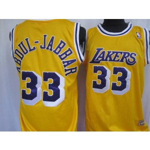 NBA Lakers 33 Abdul-Jabaar Yellow Throwback Men Jersey