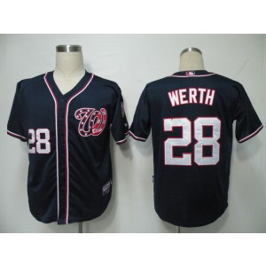 MLB Nationals 28 Jayson Werth Navy Blue Cool Base Men Jersey
