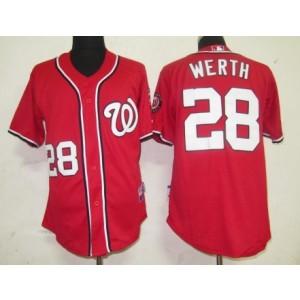 MLB Nationals 28 Jayson Werth Red Men Jersey