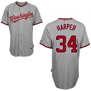 MLB Nationals 34 Bryce Harper Grey Cool Base Men Jersey