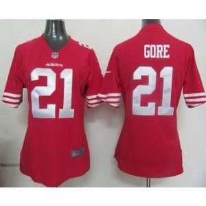 NFL Nike 49ers 21 Frank Gore Red Women's Elite Jersey