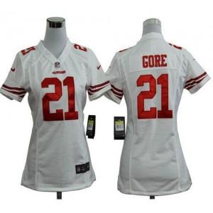 NFL Nike 49ers 21 Frank Gore White Women's Elite Jersey