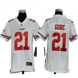 Youth Nike San Francisco 49ers 21 Frank Gore White NFL Elite Jersey