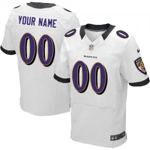 NFL Ravens White Nike Customized Men Jersey
