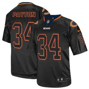 Nike NFL Chicago Bears 34 Walter Payton Lights Out Black NFL Elite Football Jersey