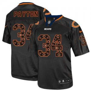 Nike NFL Chicago Bears 34 Walter Payton New Lights Out Black NFL Elite Football Jersey