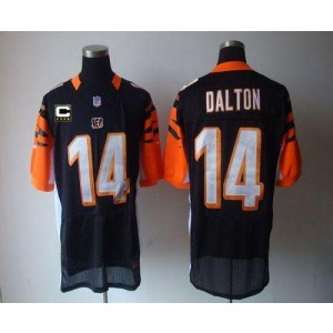 Nike Cincinnati Bengals No.14 Andy Dalton Black With C Patch Elite Football Jersey