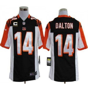 Nike Cincinnati Bengals No.14 Andy Dalton Black With C Patch Game Football Jersey