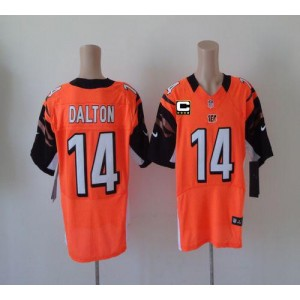 Nike Cincinnati Bengals No.14 Andy Dalton Orange With C Patch Elite Football Jersey