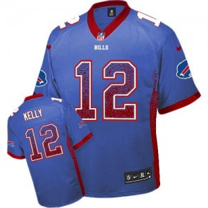 Nike Bills No.12 Jim Kelly Royal Blue Team Color Men's Stitched NFL Elite Drift Fashion Jersey