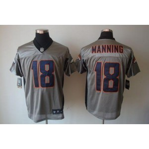 Nike Denver Broncos No.18 Peyton Manning Grey Shadow Elite NFL Jersey
