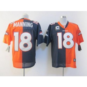 Nike Denver Broncos No.18 Peyton Manning Orange Navy Blue Elite Split NFL Jersey