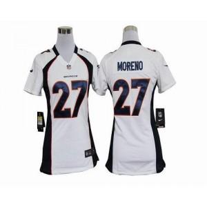 NFL Nike Broncos 27 Knowshon Moreno White Women's Elite Jersey