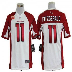 Nike Arizona Cardinals No.11 Larry Fitzgerald White With C Patch Game Football Jersey