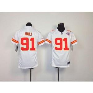 Youth Nike Kansas City Chiefs 91 Tamba Hali White NFL Elite Jersey