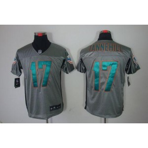 Nike Miami Dolphins No.17 Ryan Tannehill Grey Shadow Elite Jersey