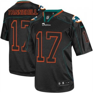 Nike Miami Dolphins No.17 Ryan Tannehill Lights Out Black Elite Jersey