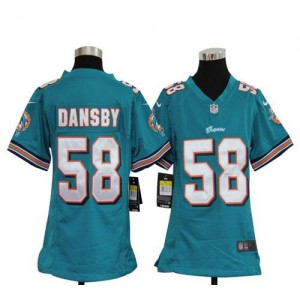 Youth Nike Miami Dolphins 58 Karlos Dansby Aqua Green NFL Elite Jersey
