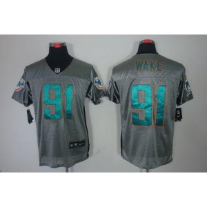 Nike Miami Dolphins No.91 Cameron Wake Grey Shadow Elite Jersey