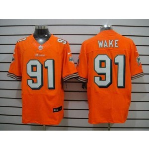 Nike Miami Dolphins No.91 Cameron Wake Orange Elite Jersey
