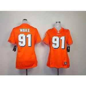 NFL Nike Dolphins 91 Cameron Wake Orange Women's Elite Jersey