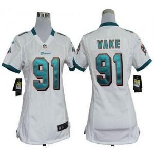 NFL Nike Dolphins 91 Cameron Wake White Women's Elite Jersey