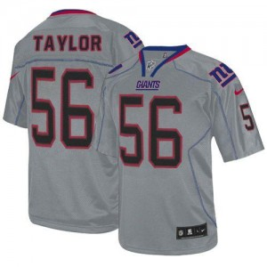 Nike New York Giants No.56 Lawrence Taylor Lights Out Grey Embroidered Elite Jersey