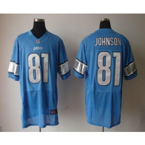 Nike Detroit Lions No.81 Calvin Johnson Blue Elite Stitched Football Jersey