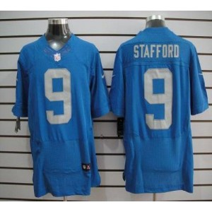Nike Detroit Lions No.9 Matthew Stafford Blue Throwback Elite Stitched Football Jersey