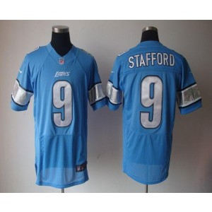 Nike Detroit Lions No.9 Matthew Stafford Blue Elite Stitched Football Jersey