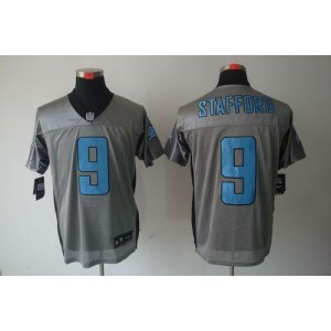 Nike Detroit Lions No.9 Matthew Stafford Grey Shadow Elite Stitched Football Jersey
