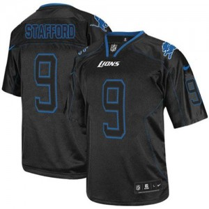 Nike Detroit Lions No.9 Matthew Stafford Lights Out Black Elite Stitched Football Jersey