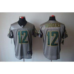 Nike Green Bay Packers No.12 Aaron Rodgers Grey Shadow Elite Stitched Football Jersey