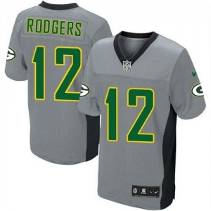 Youth Nike Green Bay Packers 12 Aaron Rodgers Grey Shadow NFL Elite Jersey