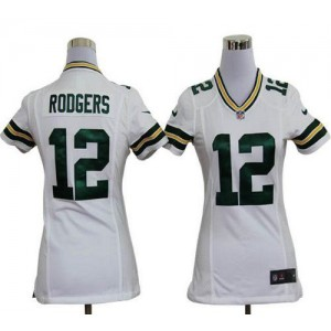 NFL Nike Packers 12 Aaron Rodgers White Women's Elite Jersey