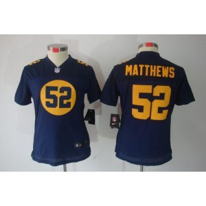 NFL Nike Packers 52 Clay Matthews Navy Blue Women's Limited Jersey