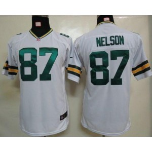 Youth Nike Green Bay Packers 87 Jordy Nelson White NFL Elite Jersey