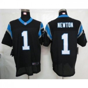Nike Carolina Panthers 1 Cam Newton Black Elite Football Jersey