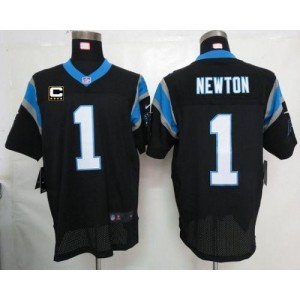 Nike Carolina Panthers 1 Cam Newton Black With C Patch Elite Football Jersey