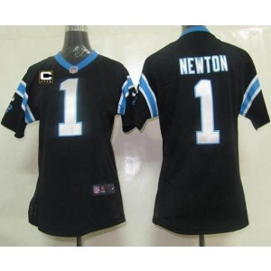 Nike Panthers 1 Cam Newton Black With C Patch Women's Elite Jersey
