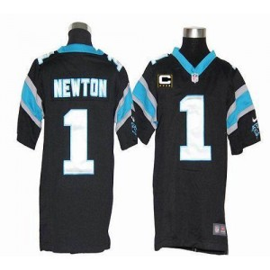 Youth Nike Carolina Panthers 1 Cam Newton Black C Patch Elite Jersey