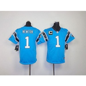 Youth Nike Carolina Panthers 1 Cam Newton Blue C Patch Elite Jersey