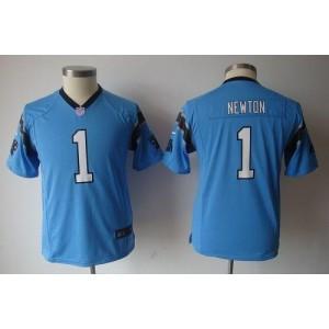 Youth Nike Carolina Panthers 1 Cam Newton Blue Game Jersey